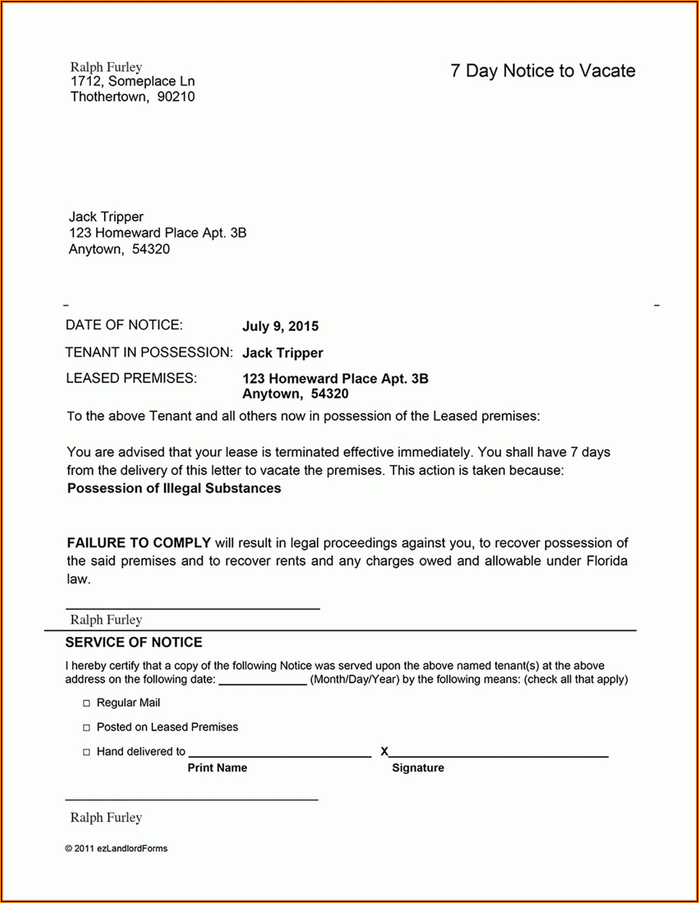 Landlord Eviction Notice Example