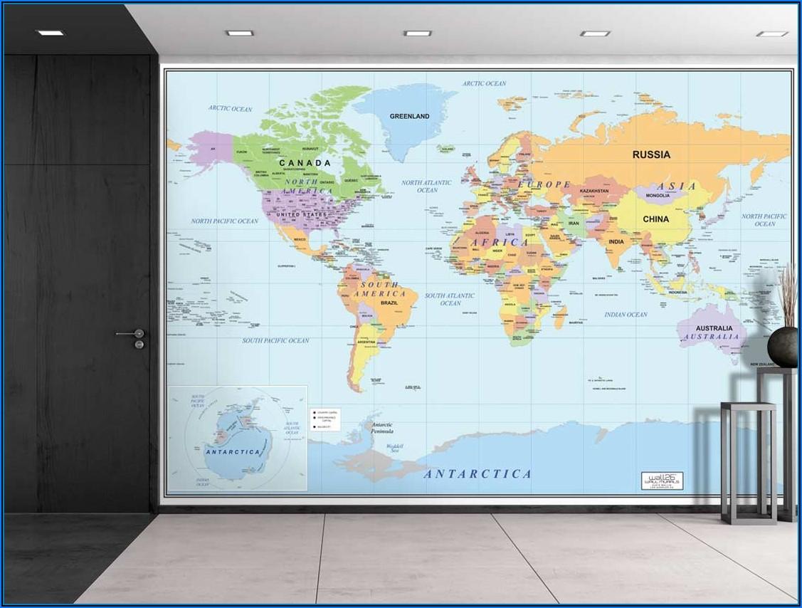 Large World Map Wallpaper Mural
