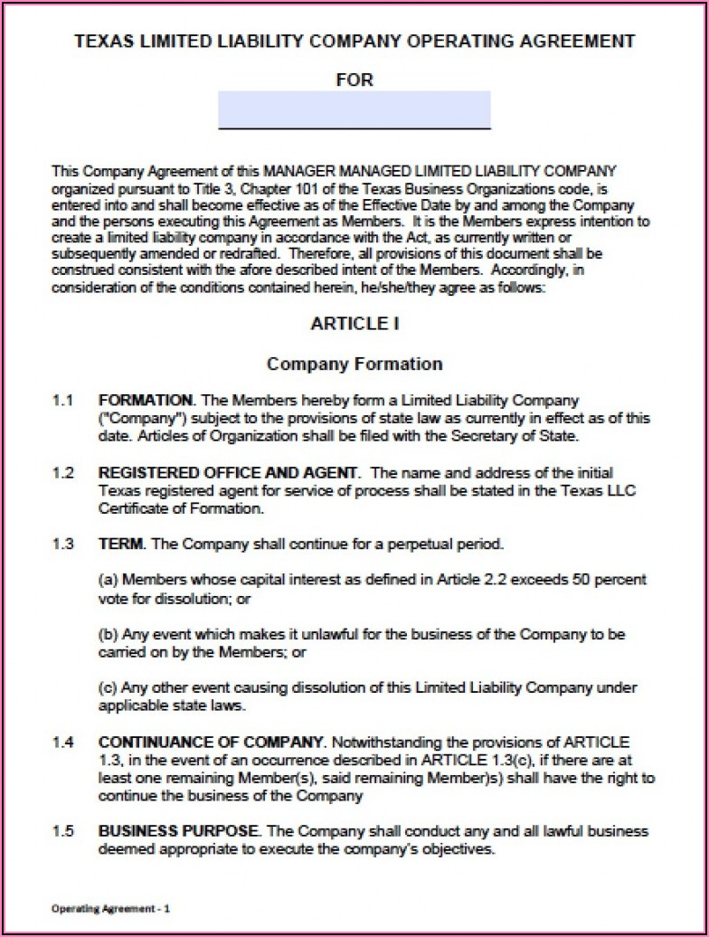 Llc Partnership Agreement Template Free Download