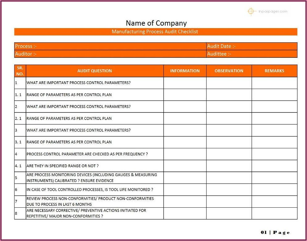 Manufacturing Process Audit Checklist Format