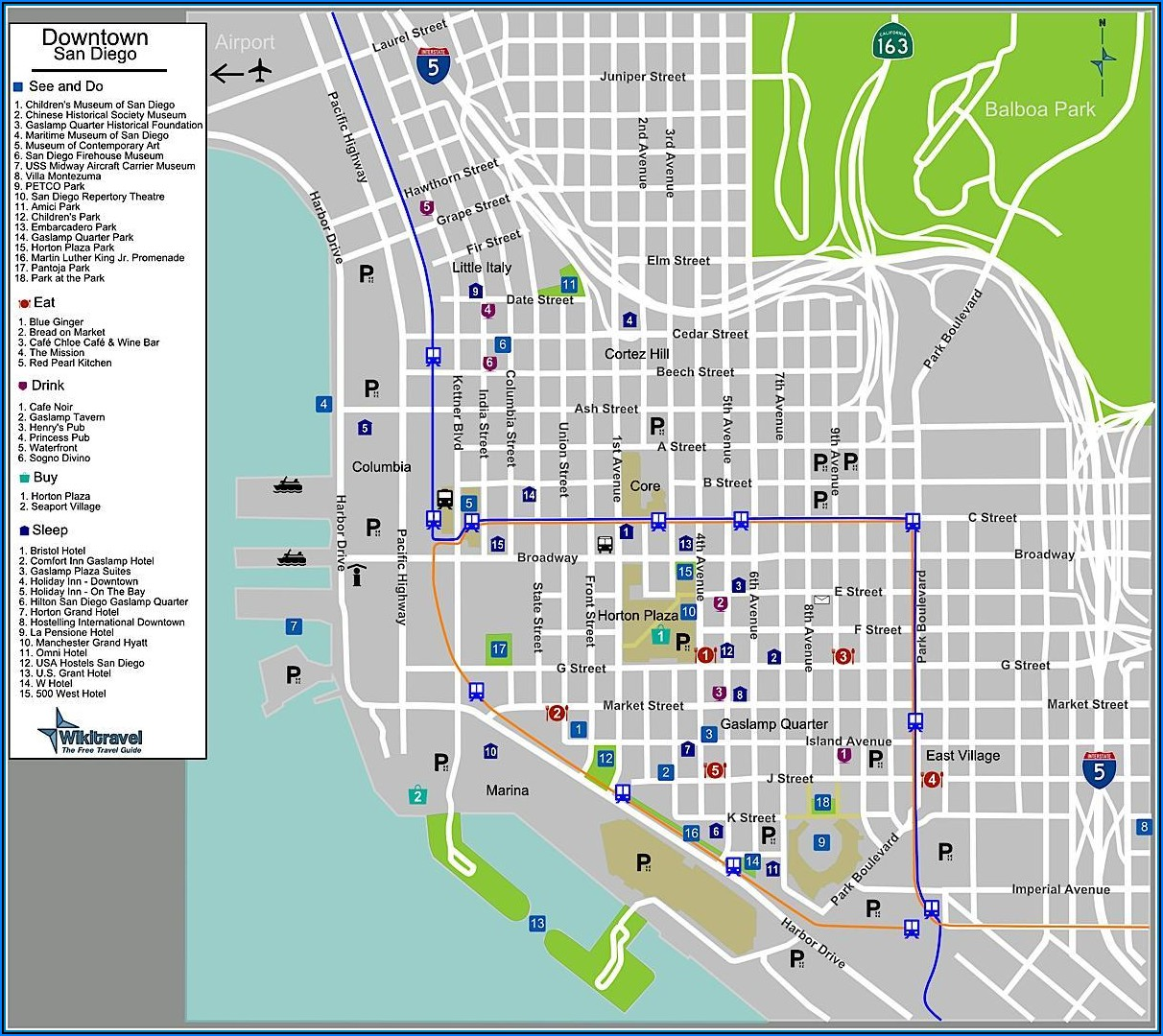 Map Of Hotels In Gaslamp District San Diego