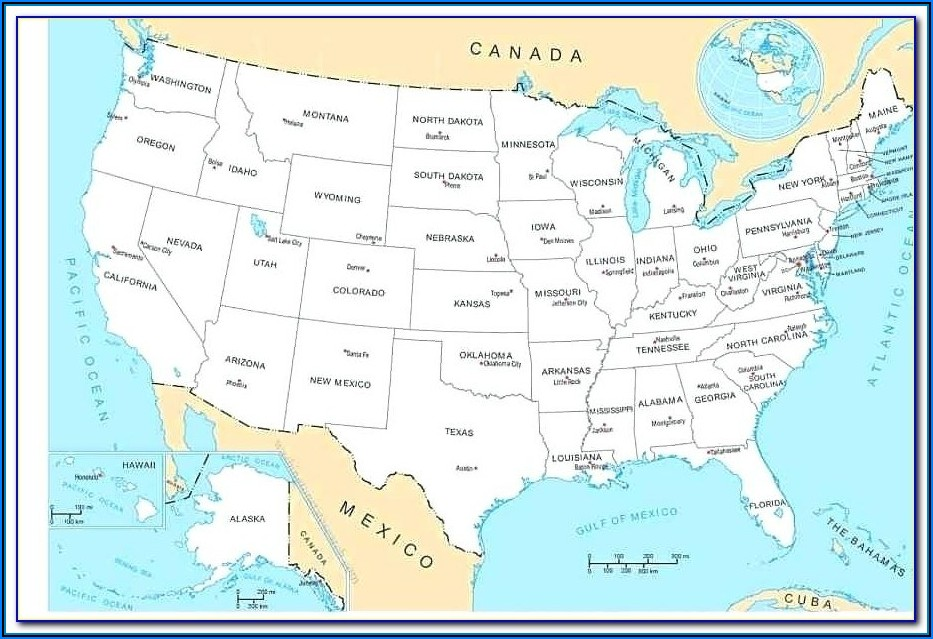 Map Of The United States With States And Capitals