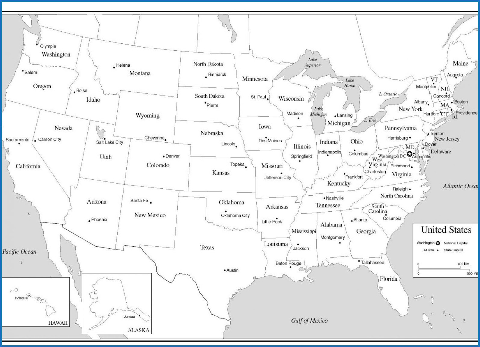 Maps Of Usa With States And Capitals