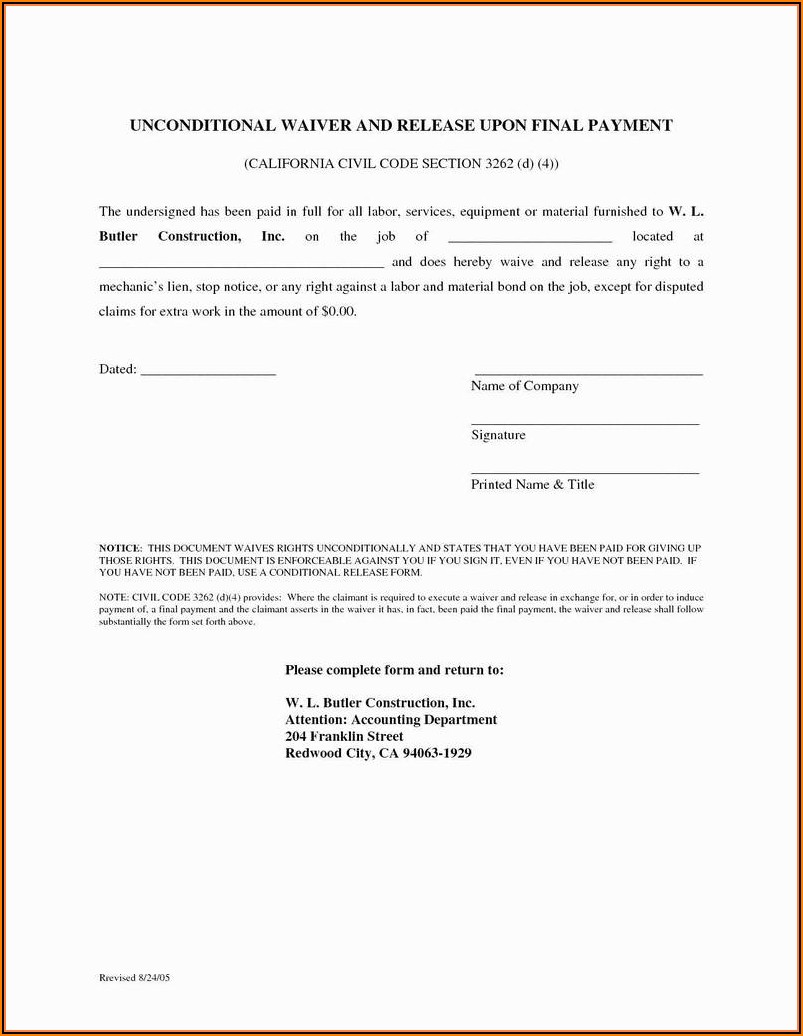 Mechanics Lien Forms California