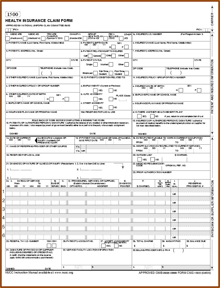 Medicare 1500 Claim Form Instructions