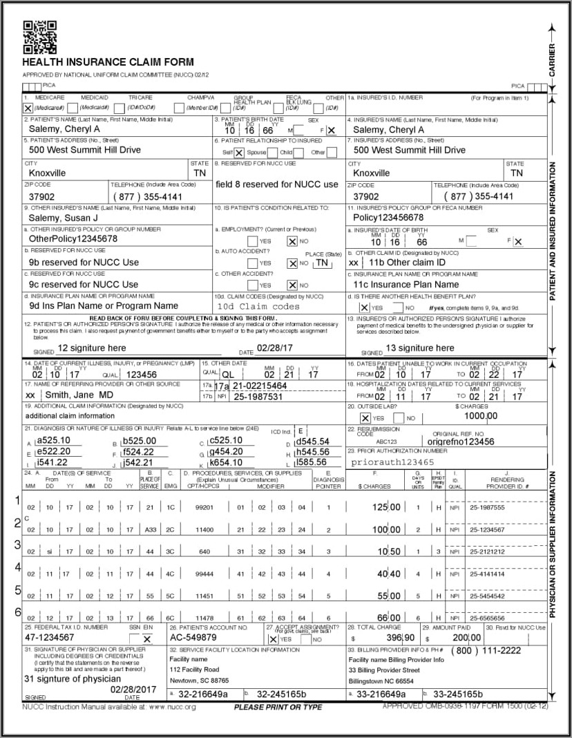 Medicare Part B 1500 Claim Form