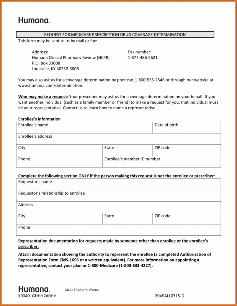 Medicare Part D Medication Prior Auth Form