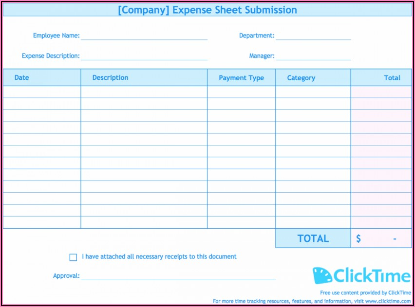 Monthly Expense Report Excel Template