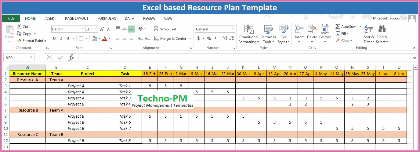 Multi Project Resource Allocation Excel Template