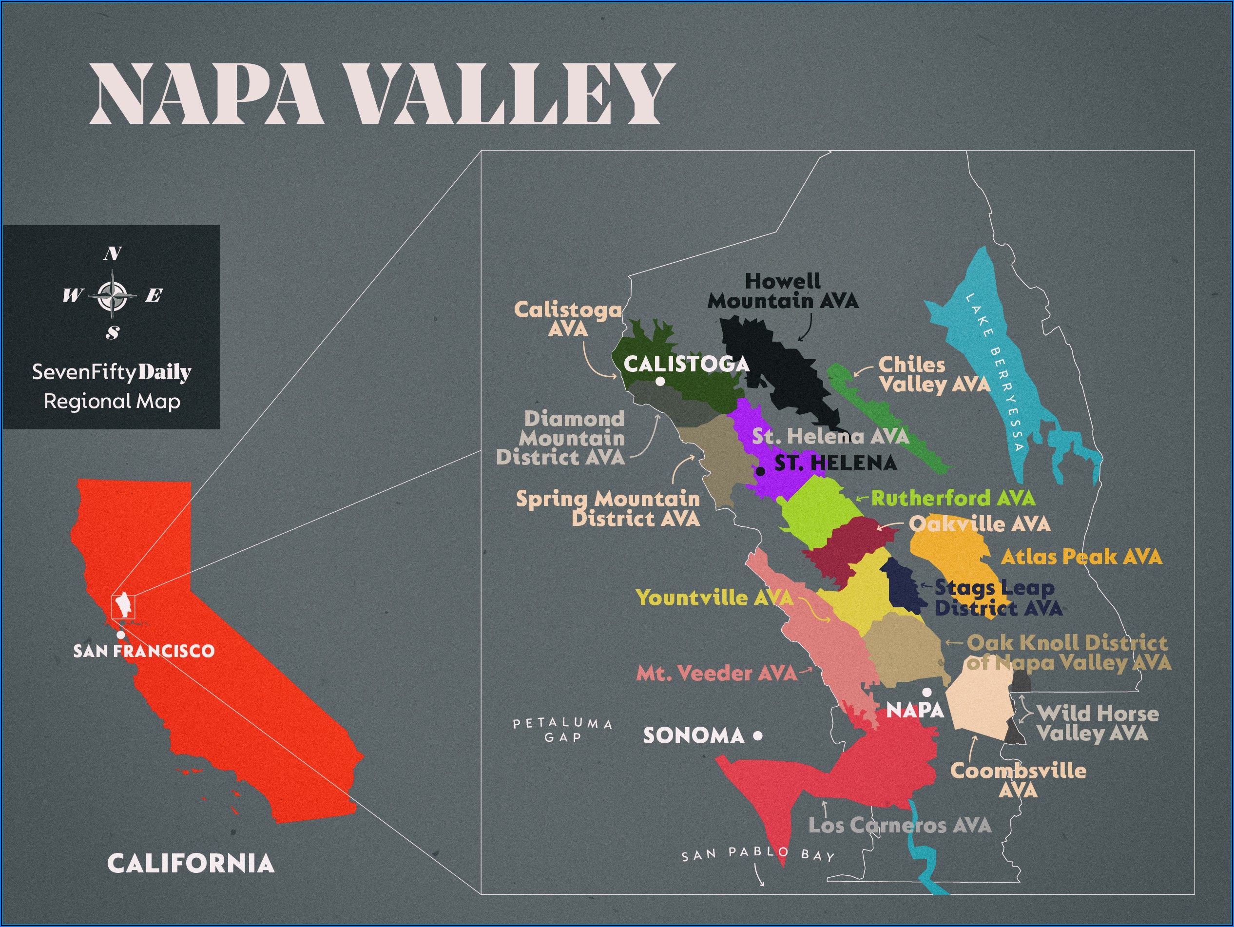 Napa Valley Vintners Ava Map