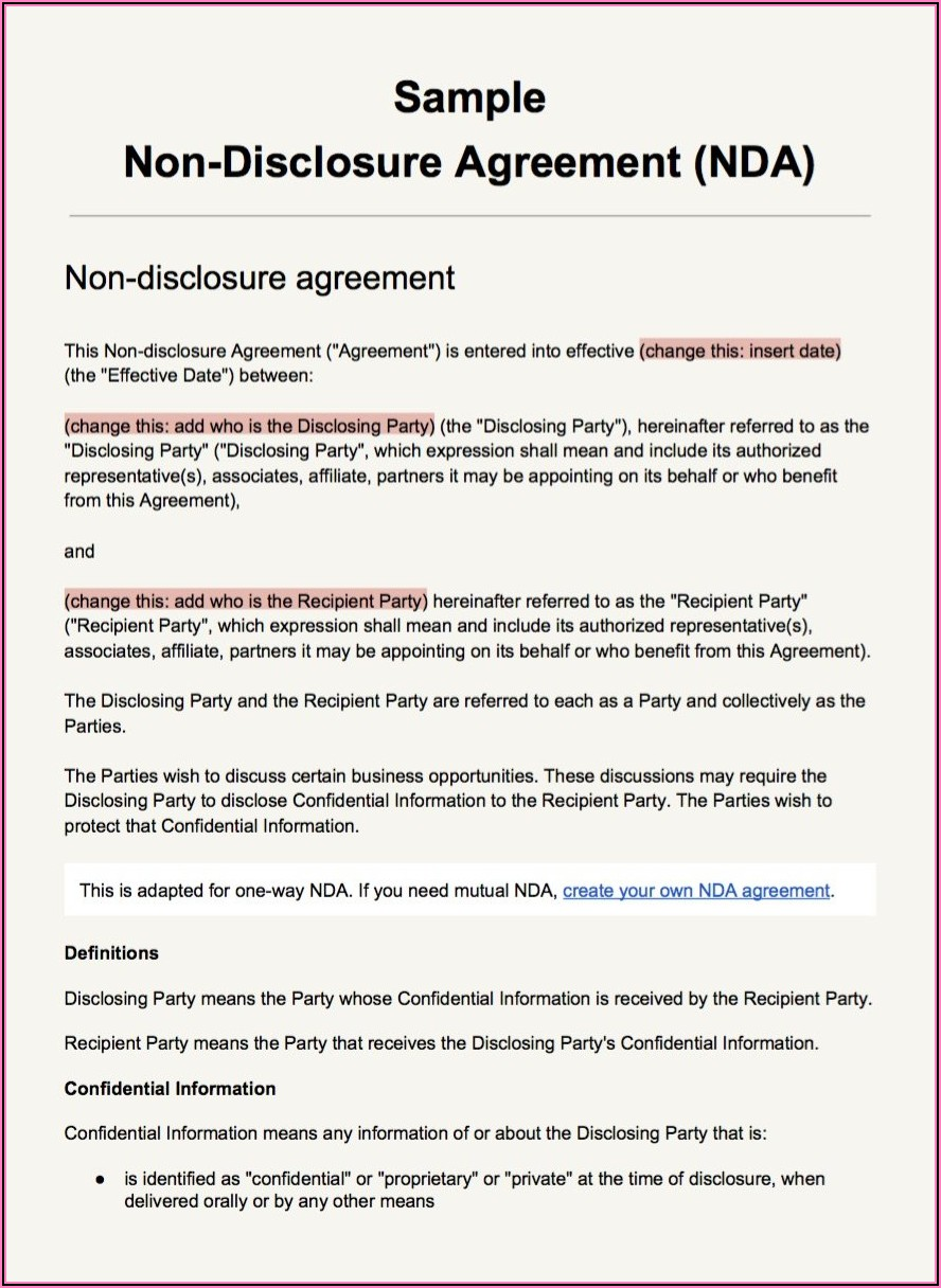 Non Disclosure Agreement Example Word