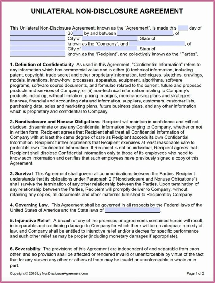 Non Disclosure Agreement Template Word India