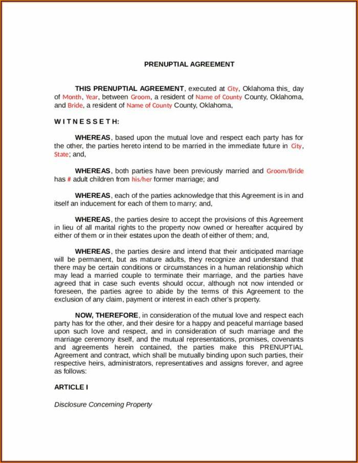 Oklahoma Prenuptial Agreement Form