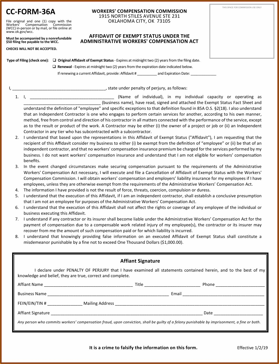 Oklahoma Workmans Comp Waiver Form