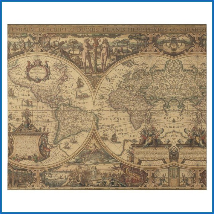 Old World Map Wrapping Paper