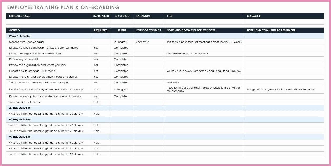 Onboarding Training Schedule Template