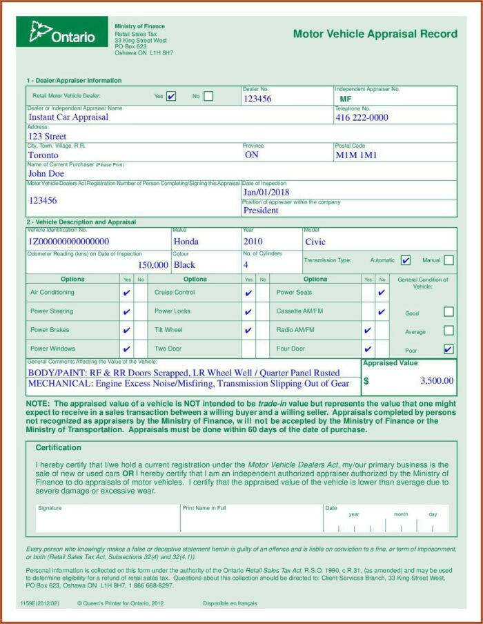 Ontario Auto Appraisal Form