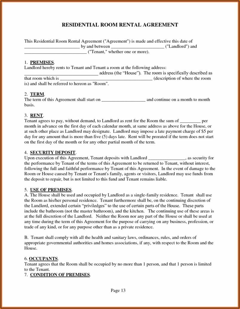 Oregon Rental Agreement Form Free