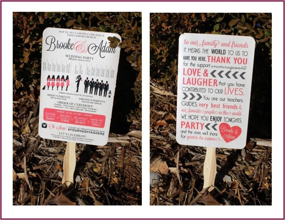 Paddle Fan Wedding Program Template Free
