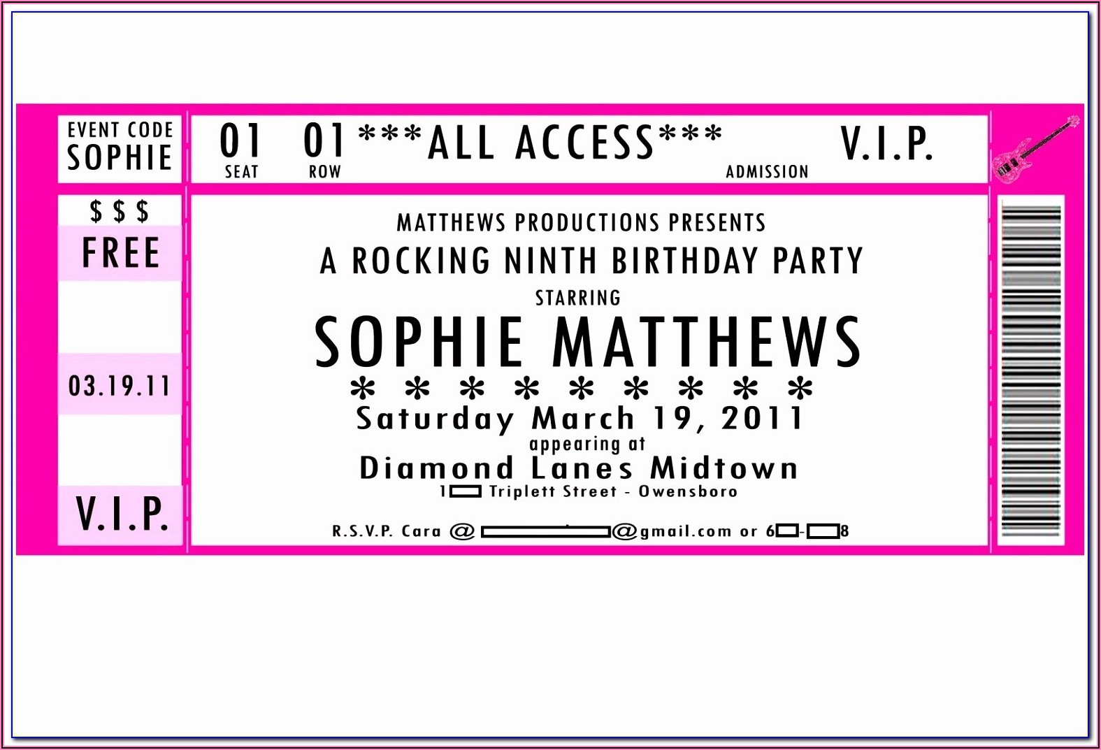 Party Ticket Psd Free Template