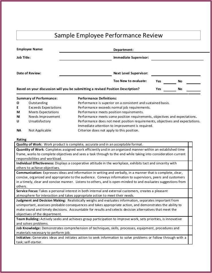 Performance Appraisal Examples For Project Managers