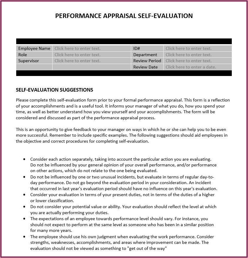 Performance Appraisal Format For Managers