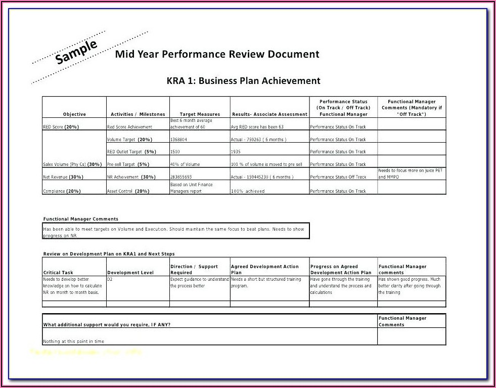 Performance Appraisal Template For Hr Manager