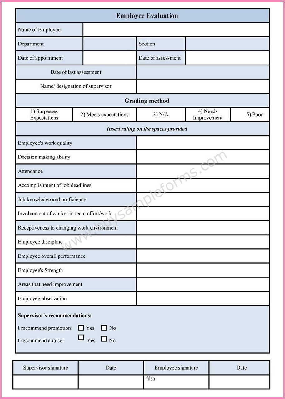 Performance Appraisal Template For Project Manager