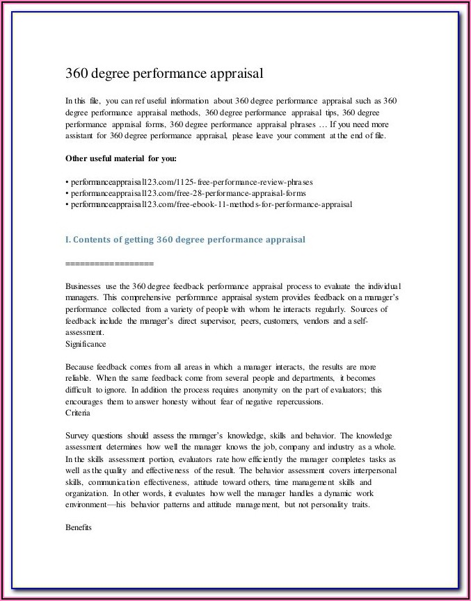 Performance Appraisal Template For Senior Management