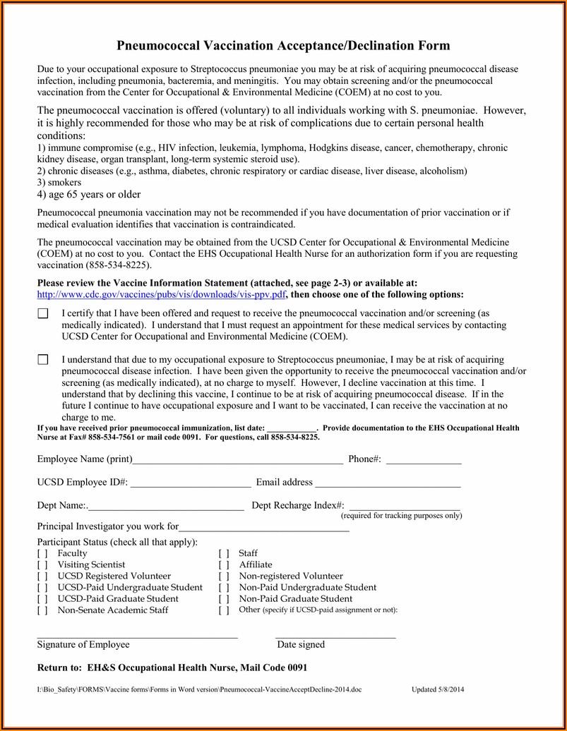Pneumonia Vaccine Consent Form Template