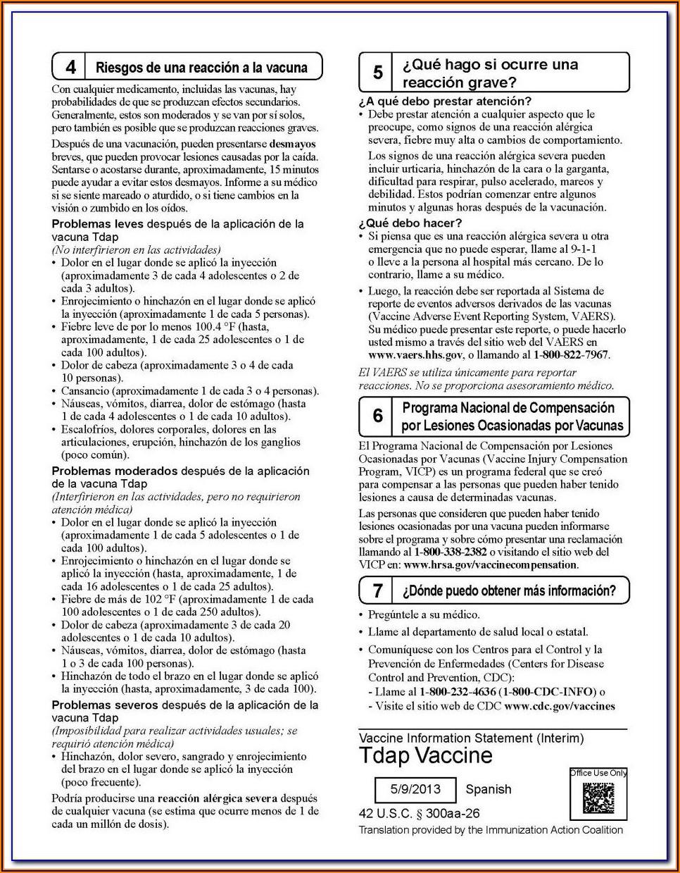 Pneumovax 23 Vaccine Consent Form