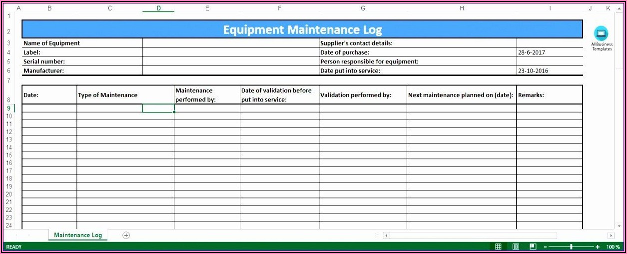 Preventive Maintenance Log Template