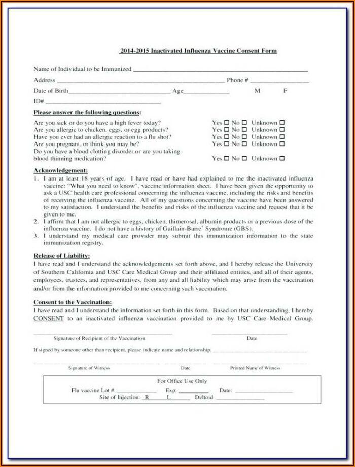 Printable Flu Shot Verification Form