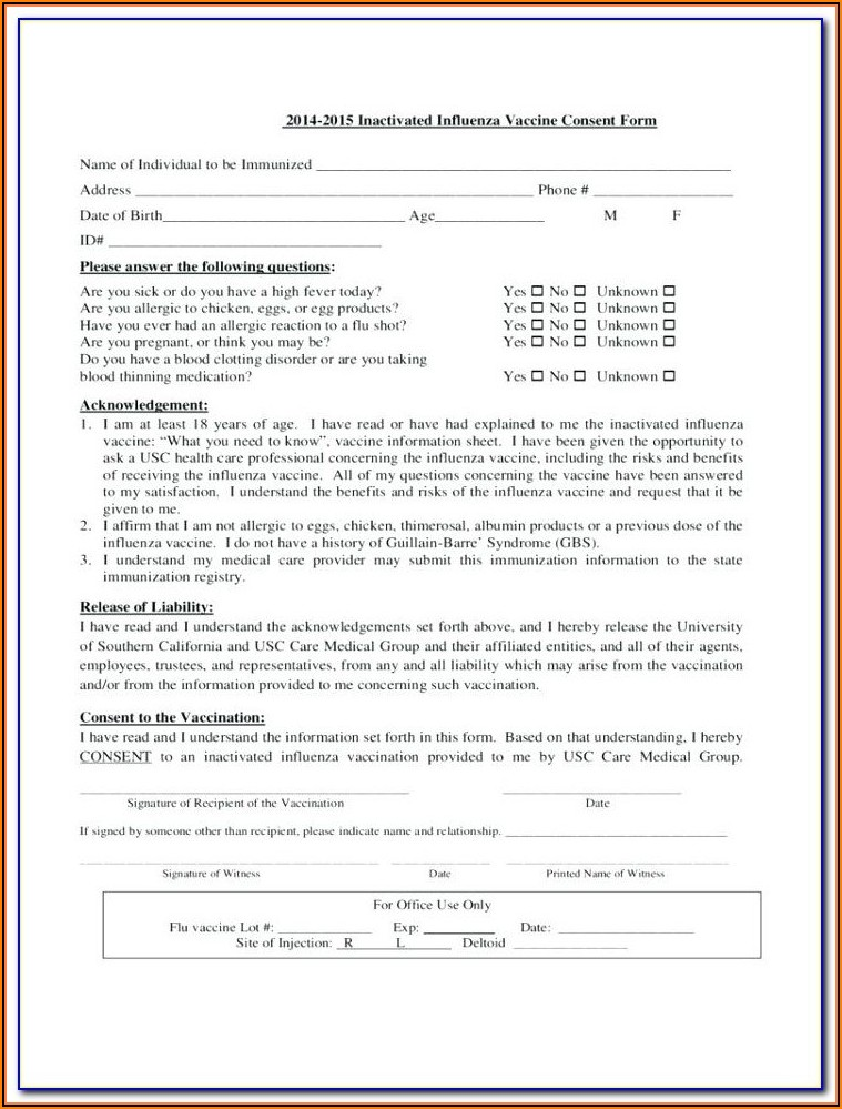 Printable Flu Shot Verification Form