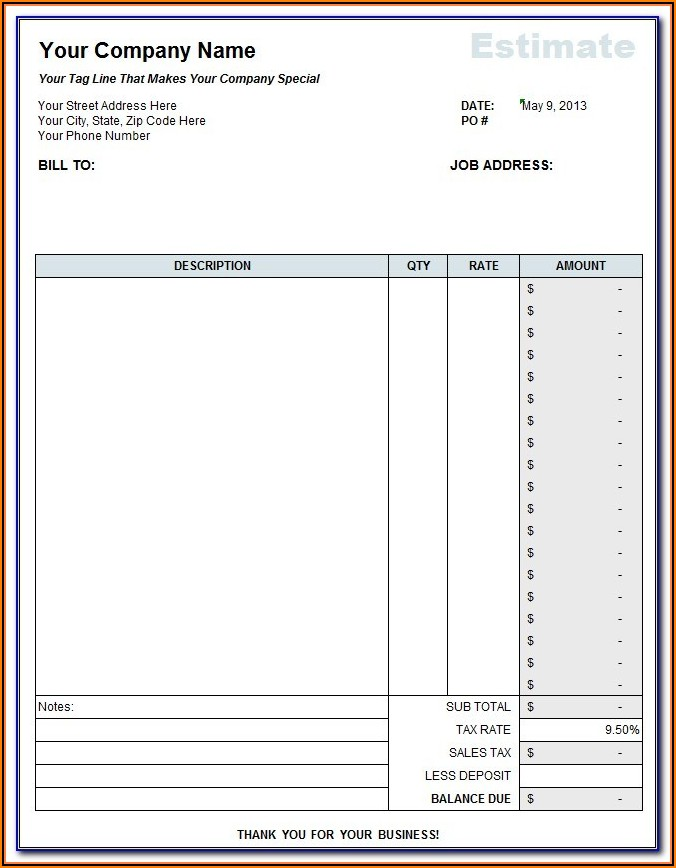 Printable Landscape Estimate Forms