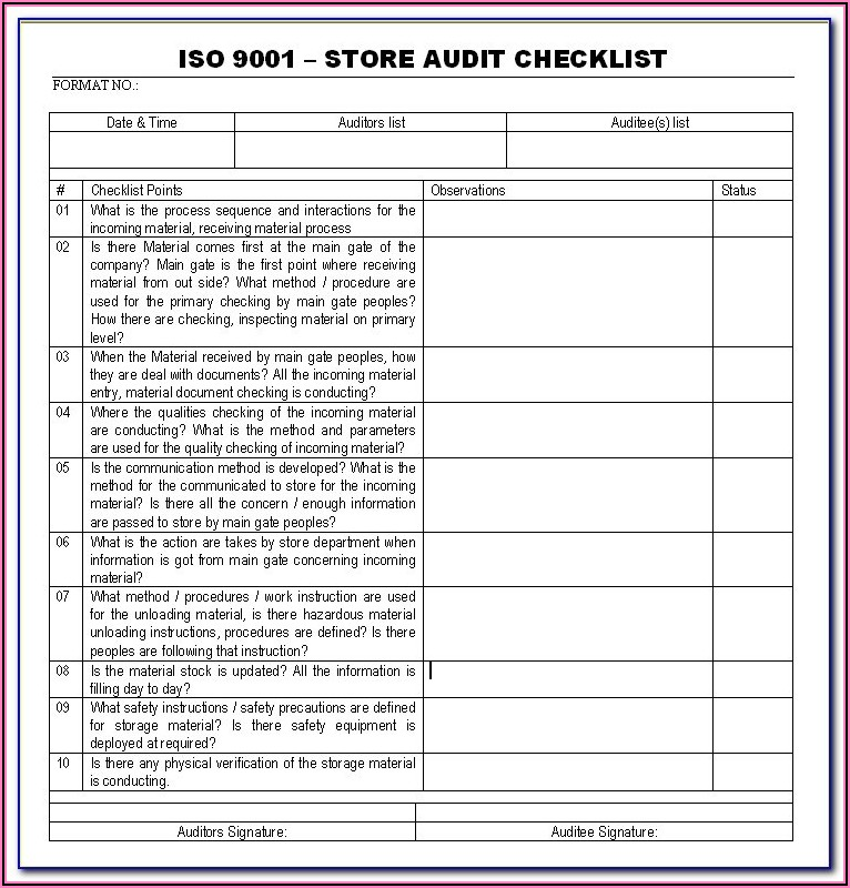 Process Audit Checklist Template Excel
