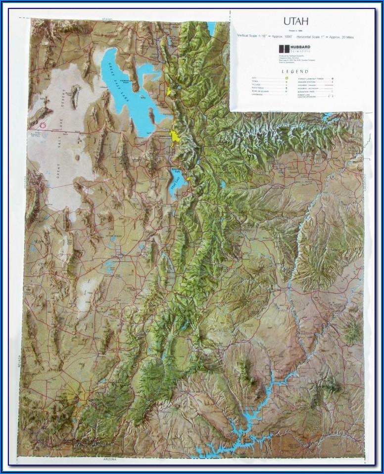 Raised Relief Map Of Utah