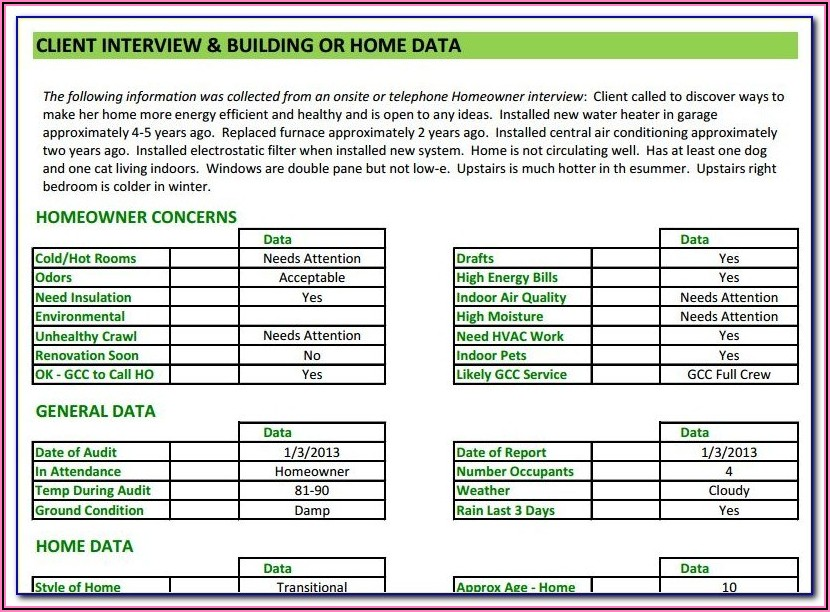 Residential Energy Audit Report Format