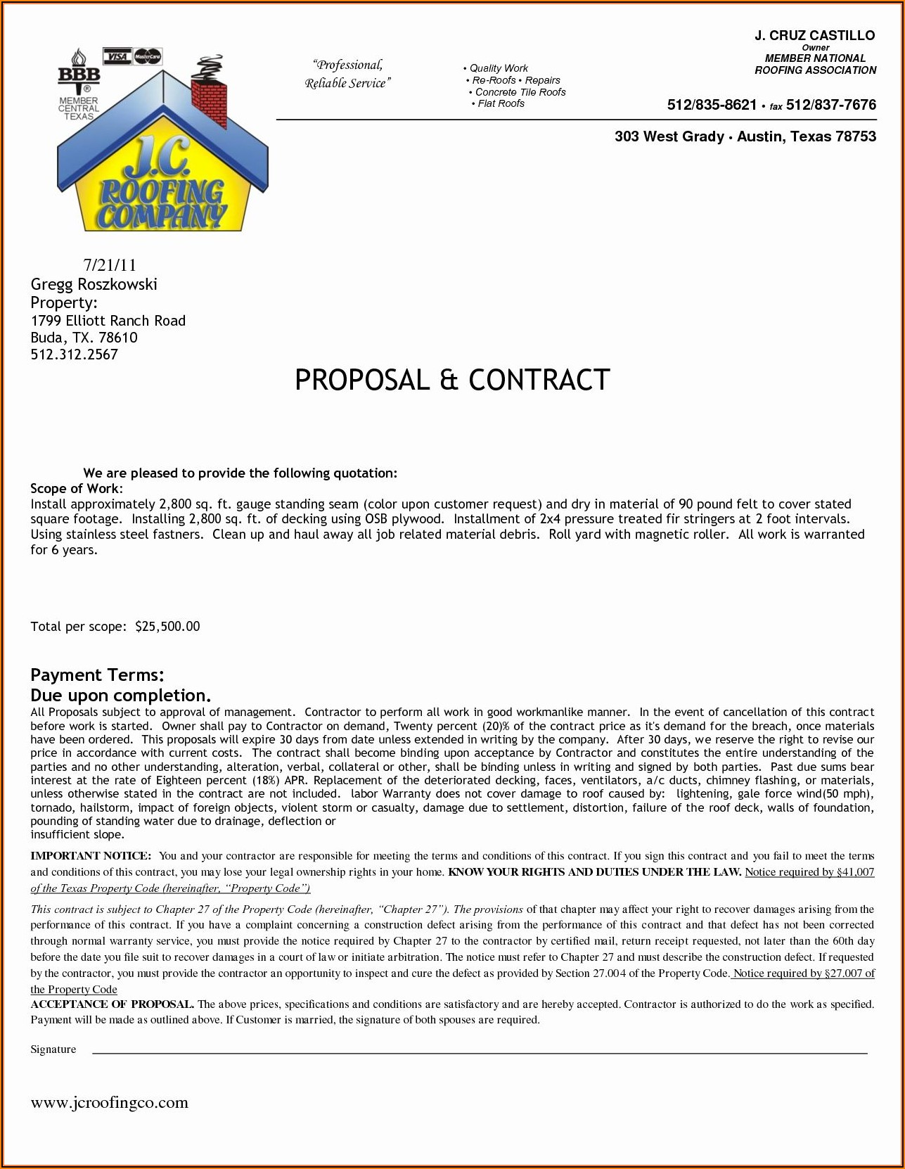 Roofing Contract Template Texas