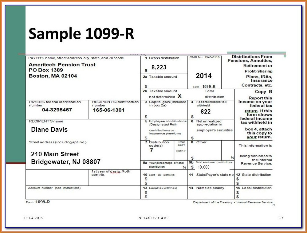 Sample Form 1099 B