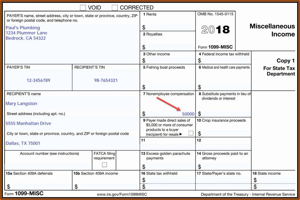 Sample Form 1099 Misc