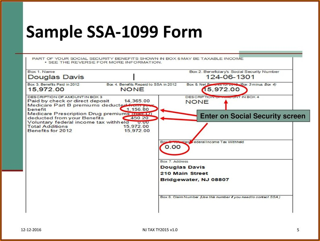 Sample Form 1099 Ssa