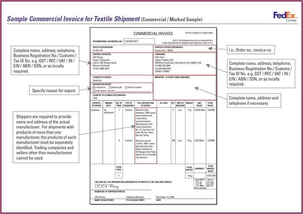 Sample Invoice Template In Excel
