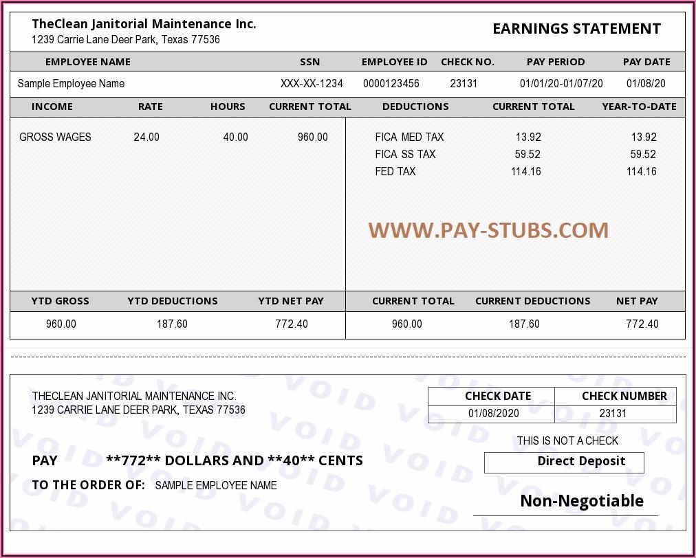 Sample Pay Stubs Pdf