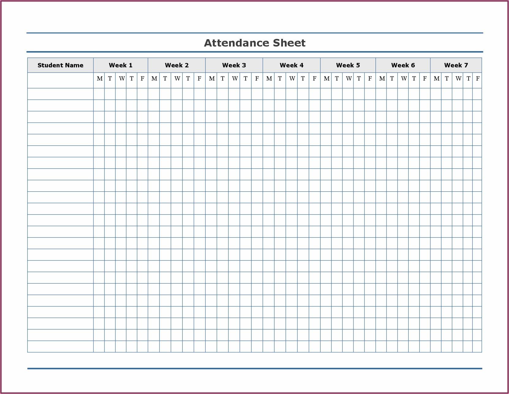 School Attendance Calendar Template