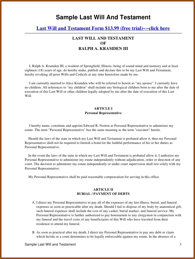 Simple Wills Forms