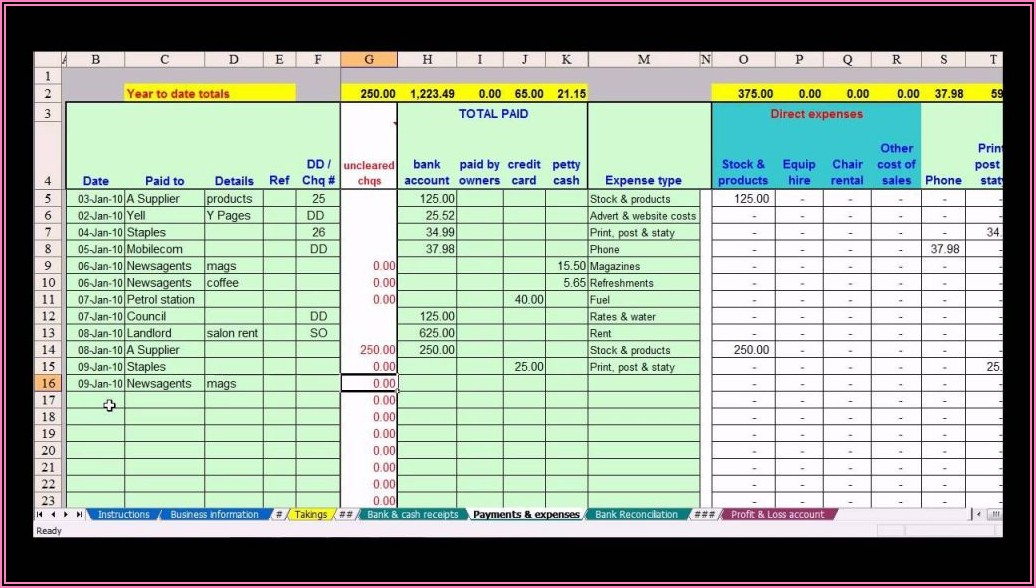 Small Business Accounting Spreadsheet Template Australia