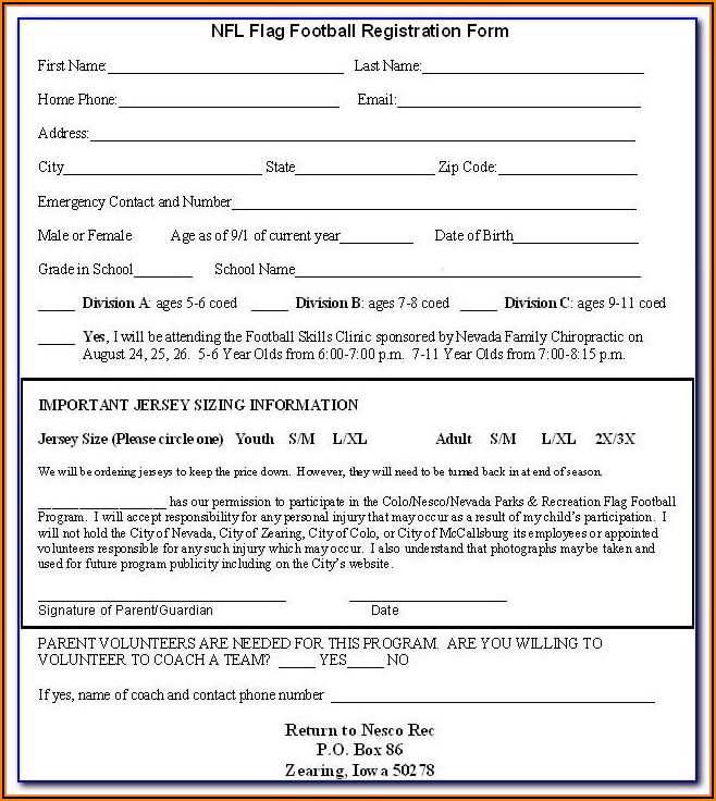 Softball Player Registration Form Template Word