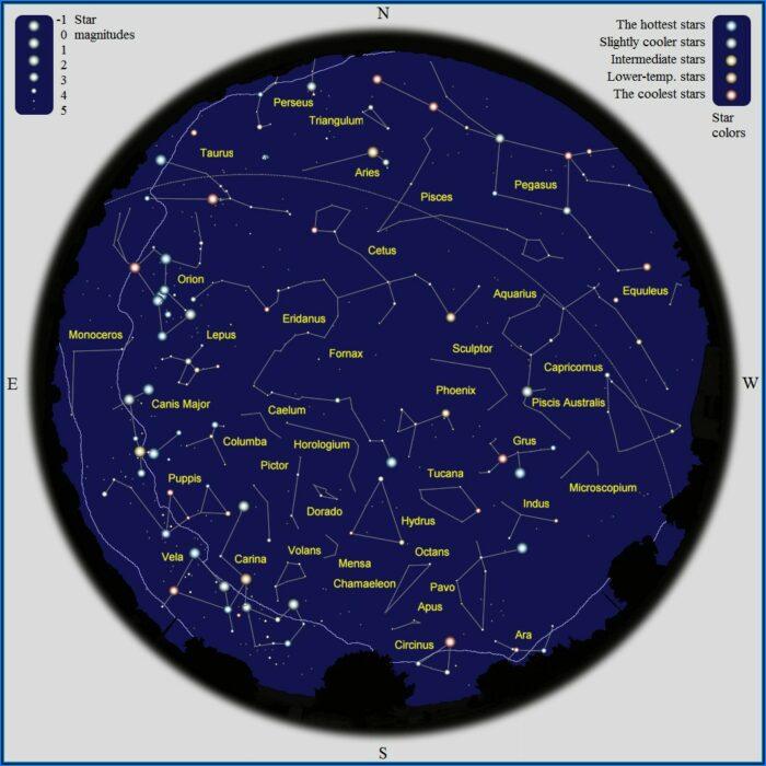 Star Map Southern Hemisphere Printable
