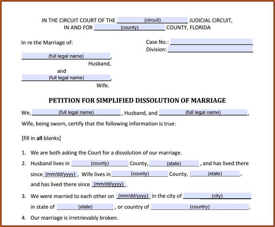 State Of Florida Uncontested Divorce Forms